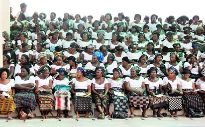 Women at the funeral service.