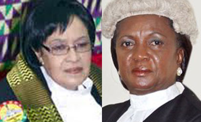 Speaker of the Parliament, Justice Mrs. Joyce Adeline Bamford-Addo and Chief Justice of Ghana, Justice Georgina Theodora Wood