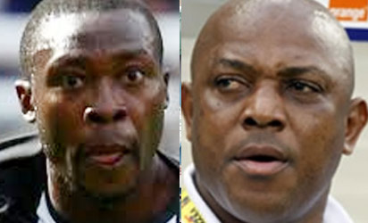 Shola Ameobi and Coach Stephen Keshi