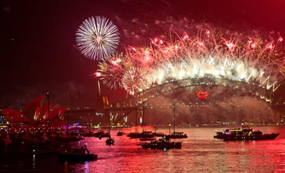 New Year celebration in Jakarta, Indonesia.