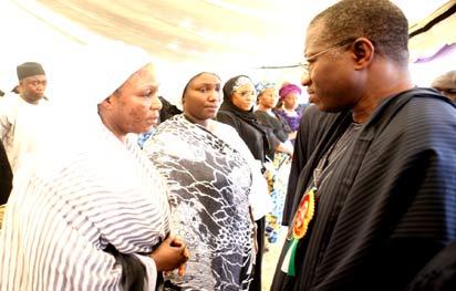 President Goodluck Jonathan consoling  Amina, the wife of late Governor of Kaduna State, Sir Patrick Yakowa during the funeral service, yesterday at Fadan Kagoma, Kaduna.