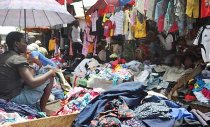 Dealers in second-hand clothing making brisk sales at Katangua market in Nigeria