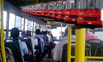 Passengers in a BRT bus