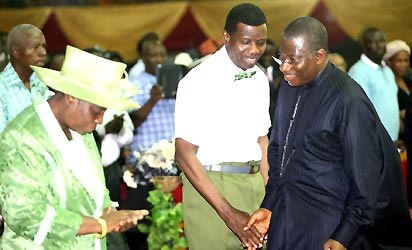 File photo: From Left; Pastor Folu Adeboye, Pastor Enoch Adeboye and President Jonathan at the 2013 Holy Ghost Congress, Friday night.