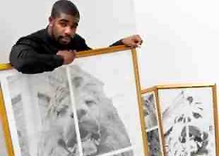 *Kelvin Okafor with some of his works