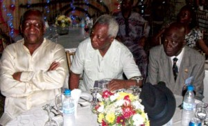 *L-R, The host, Chief Newton Jibunoh, the celebrant, Prof. J.P.Clark and others at the event