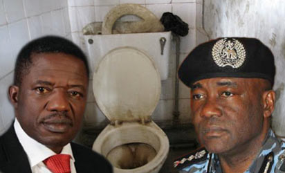 Minister of Police Affairs, Navy Captain Olubolade;  Inspector General of Police, Mr Mohammed Abubakar and behind is one of the toilets at the police college in Ikeja, Lagos