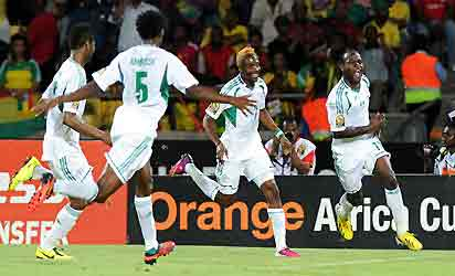 Nigeria midfielder Victor Moses (R) celebrates after scoring against Ethiopia on January 29, 2013 during a 2013 African Cup of Nations Group C football match at the Royal Bafokeng stadium in Rustenburg. AFP PHOTO.