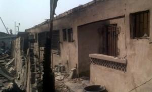 *Remnants of the burnt buildings on Jones Street, Ebute Metta, Lagos. Photo: Monsur Olowoopejo.