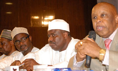 From Left,Former Chief Justice of Nigeria Mohammed Uwais, Chairman Media Trust Malam Kabiru Yusuf, the Speaker House of Reps Hon. Aminu Waziri Tambwal and former President of Botswana Festus Mogae at the 10th Daily Trust Dialogue themed Nation Building: Challenges and Reality in Abuja yesterday. Photo by Gbemiga Olamikan