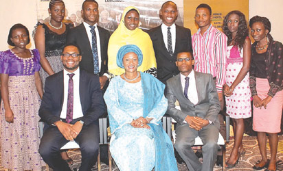 NEF President, Senator Oluremi Tinubu with the Spelling Bee One Day Governors at their annual reunion luncheon, recently.