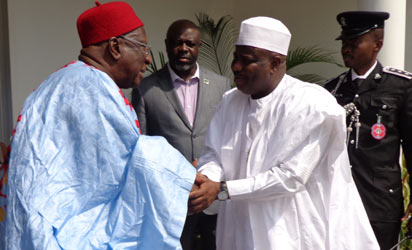 The National Chairman, PDP, Alhaji Bamanga Tukur (left)  and Speaker, House of Representatives, Hon. Aminu Waziri Tambuwal during  a solidarity visit by to the chairman yesterday, 15, January, 2013