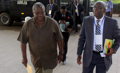 Editor-in-Chief, Vanguard, Mr. Gbenga Adefaye (r) arriving with other Resource Persons at the venue of the National Summit on Security Challenges in Nigeria held at the ICC, Abuja. Photo by Abayomi Adeshida