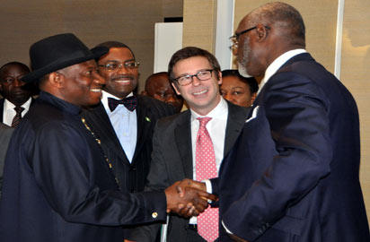 From Left: President Goodluck Jonathan;  Minister Of Agriculture and Rural Development, Dr Akinwumi Adesina; CEO Oxford Business Group, Mr Andrew Jeffreys And The Chairman, Access Bank Plc, Mr Gbenga Oyebode At The Inaugural Meeting Of Presidential Eminent Persons Group On Agriculture In Geneva On Tuesday (22/1/13).