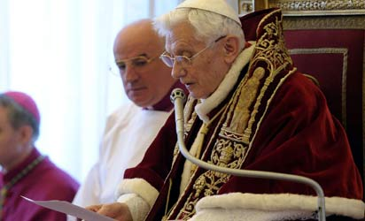 Pope Benedict XVI announcing his plan to resign, yesterday.  AFP Photo.