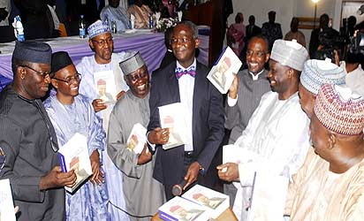 Book Presentation: From Left, Ekiti State Governor  Kayode Fayemi, Author of the Book, Mallam Nasir El Rufai, CPC Former Presidential President Candidate , Gen. Mohammadu Buhari , Nasarawa State Governor Tanko Alumokura, Lagos State Governor Babatunde Fashola, CBN Governor Lamido Saunsi , Gobe State Governor, Ibrahim Dankuwabo, Chairman of the Occasion and Former Speaker  Aminu Masari and Niger State Governor Aliyu Babangida  at book presentation Accidental Public Servant held in Abuja. Photo by Gbemiga  Olamikan.