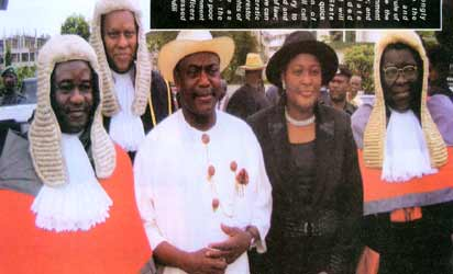 From left: Chief Judge of Rivers State, Justice Iche Ndu, the Attorney General and Commissioner for Justice, Mr. Odein Ajumogobia, SAN; Governor Peter Odili and his wife, Mary, and Justice Elizabeth Membere shortly after a special court session at the High Court Complex, Port Harcourt