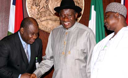President Goodluck Jonathan with Prof. Chinedu Nebo (left) and Alhaji Kabiru Turaki (right) after their swearing in as new  ministers, Monday, at the State House, Abuja