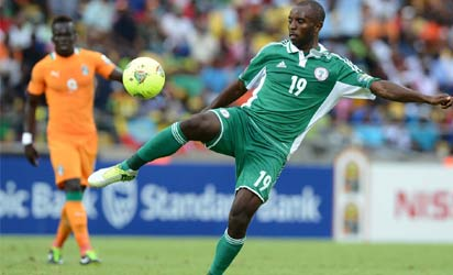 Nigeria's forward Sunday Mba kicks the ball during the African Cup of Nation 2013 quarter final football match Ivory Coast vs Nigeria, on February 3, 2013 in Rustenburg.    AFP PHOTO