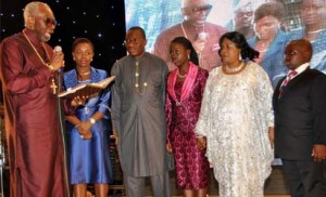 From left: President, Christian Association of Nigeria, Pastor Ayo Oritsejafor praying for President Goodluck Jonathan and his family during Praise and Thanksgiving Ceremony for First Lady, Dame Patience Jonathan in Abuja on Sunday