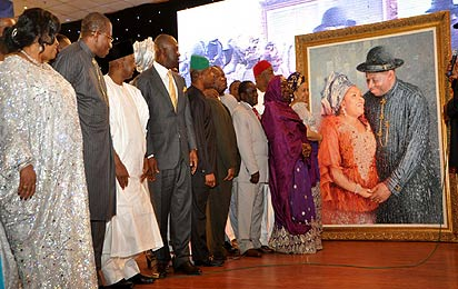 From left; First Lady, Dame Patience Jonathan; President Goodluck Jonathan; Vice President  Namadi Sambo; Deputy Senate President, Ike Ekweremadu; Deputy Speaker, House of Representatives, Emeka Ihedioha and other ministers at the thanksgiving.