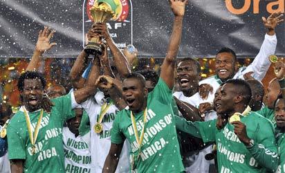 Super Eagles celebrate after winning the 2013 Afcon final
