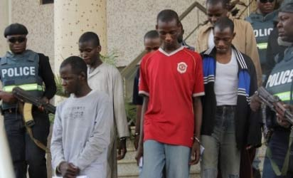 The terror suspects in court, yesterday.