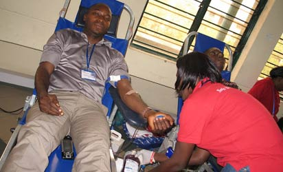 • A voluntary blood donor. Experts say the average adult person suffers no adverse effect from donating a pint of blood which may save a life. Every donor is tested and certified fit before donation.