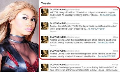 *Goldie's hacked twitter account