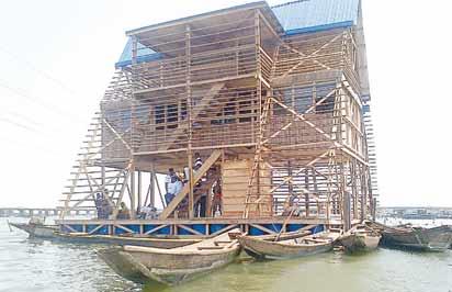 ...The three storey building floating school