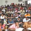 Candidates writing the UTME at the University of Abuja, Saturday.