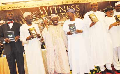 BOOK PRESENTATION—From left: Gov. Babatunde Fashola of Lagos State; Asiwaju Bola Tinubu, National Leader of Action Congress of Nigeria, ACN, and Chief Presenter; Chief Bisi Akande, National Chairman of ACN; Aremo Olusegun Osoba, former Governor of Ogun State; Alh. Lai Mohammed, National Publicity Secretary of ACN and Author of the Book; Gen. Muhammadu Buhari (rtd.), former Head of State and Senator Chris Ngige, during the Public Presentation of a book: 'Witness to History of Action Congress of Nigeria and the Struggle for Democracy, Liberty and Justice', by Alh. Lai Mohammed, at  the Civic Centre Victoria Island, Lagos, yesterday. Photo: Bunmi Azeez.