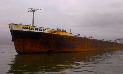 File Photo: Joint Task Force, Operation Pulo Shield, impounded this                                    vessel, MT Shandy, over suspected crude oil theft.