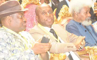 From right: Professor Wole Soyinka, Governor Rotimi Amaechi and his deputy at the Rivers State 2013 Education Summit at Government House, Port Harcourt.