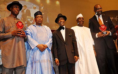 From left ,Rt Hon Chibuike Rotimi Amaechi, Governor of Rivers State and winner Vanguard Personality of the Year  2012 award; General Ibrahim Babangida, Chairman of the occasion; Mr Sam Amuka, Publisher, Vanguard Newspaper; Hon Aminu Tambuwal, Speaker, House of Representatives and Mr Aigboje Aig-Imoukhuede