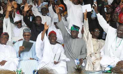 From left: Aremo Osoba, Gen. Muhammadu Buhari (rtd.) Chief Akande, Asiwaju Bola Tinubu, Malla Nuhu Ribadu, Senator Lawal Shuaibu and others ACN, members at the Action Congress of Nigeria (ACN) National Convention held at Onikan Stadium, Lagos Island. on 18/04/2013. Photo: Bunmi Azeez