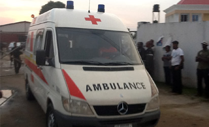 One of the ambulances conveying the remains of the slain policemen to FMC morgue