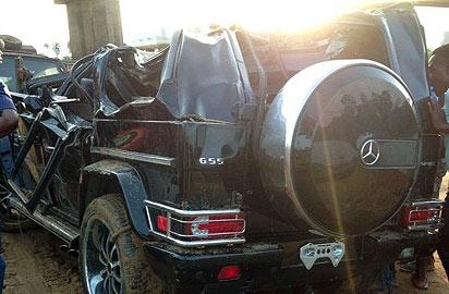 The damaged SUV...