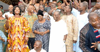 From left: Wife of Ondo State Governor, Olukemi Mimiko; Governor Olusegun Mimiko; Wife of the Deputy Governor, Alhaja Bejide Olanusi; Deputy Governor, Alhaji Alli Olanusi and others, jubilating after the judgement of the Ondo Election Petitions Tribunal which upheld the election of Mimiko as Ondo State Governor, at the Government House, in Akure, yesterday.