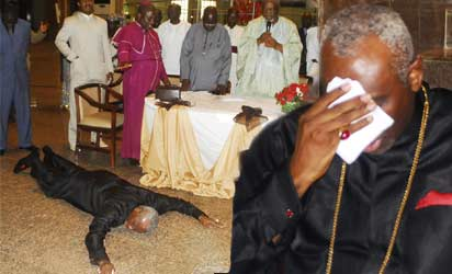 AWARD—Pastor Ayo Oritsejafor on the floor and in tears (inset) as Northern Christian elders pray for him during award ceremony conferred on him by Northern States Christian Elders Forum in Abuja, yesterday. Photo: Gbemiga Olamikan.