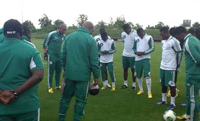 NO CAUSE FOR ALARM: Super Eagles players taking tutorials from coach Keshi