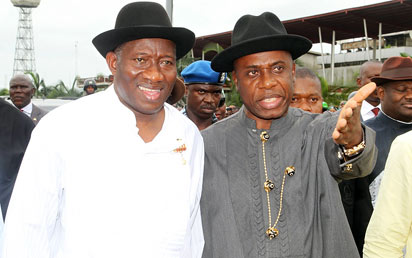 President Goodluck Jonathan being received by Governor Rotimi Amaechi at the Port Harcourt  International Airport . The President was on his way to Abuja from Abuja.