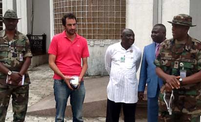 Rescued French national, Benjamin Élan (2nd left) at the JTF headquarters, Opolo, Yenagoa.