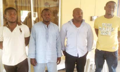 CYBER CRIME SUSPECTS: Chibuzor Akobundu (Devon Miles, Martin Williams and Sani Bala Ismaila1st left), and other alleged accomplices.