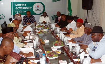 JANG'S NGF FACTION: Cross section of Jonah Jang's faction of Nigeria Governors' Forum at their first meeting in Abuja, yesterday. Photo: Gbemiga Olamikan.
