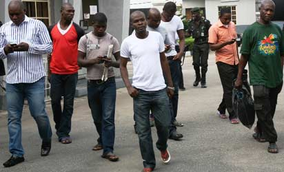 The suspects at the court premises.