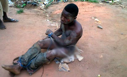 *One of the suspects arrested by the Vigilante group recently before he was handed over to the Police