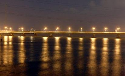 *The new, well-lit Carter  Bridge at night
