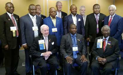Seated in the middle is Sir Emeka Offor and a cross-section of Nigerian contingent and executives of Rotary International at the conference in Lisbon Portugal . Photo Emeka Aginam
