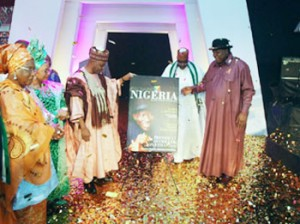 vice President Namadi Sambo with Tourism Minister, Chief Edem Duke  and other dignitaries at the  unveiling of the Fascinating Nigeria Brand in Abuja.